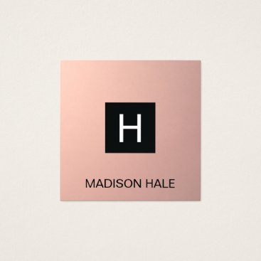 Simple Modern Rose Gold Copper  Monogram Square Business Card