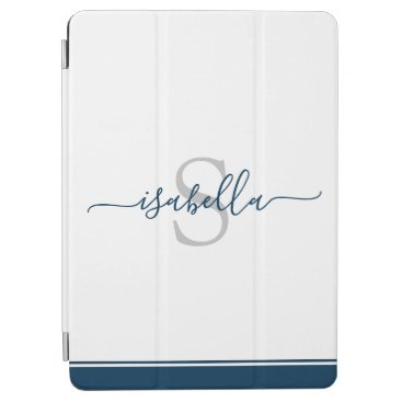 Simple Modern Stylish Monogrammed Navy Blue iPad Air Cover