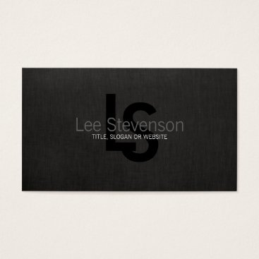 Simple Monogram Black Linen Look Professional Business Card