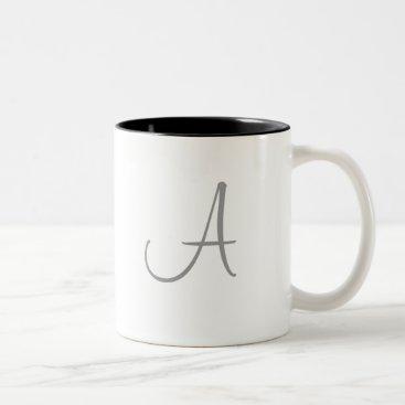 Simple Monogram Letter Initial Custom Personalized Two-Tone Coffee Mug