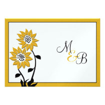 Simple Sunflowers Monogrammed Wedding Invitation