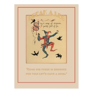 Sing a Song of Sixpence Good Luck Postcard