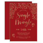 Single Mingle Valentine Party Red and Gold Invitation
