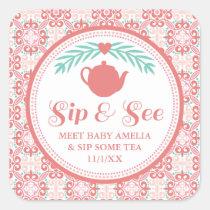 Sip & See Meet Baby Tea Party Sticker