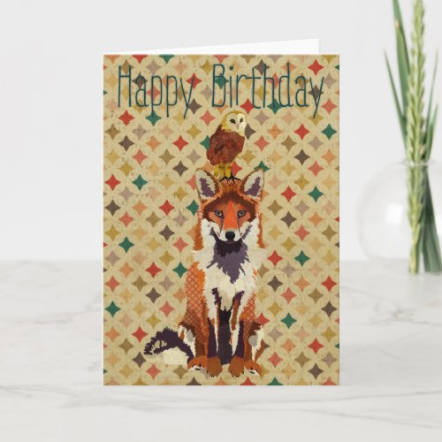 Sir Fox Alot & Owl Birthday Card