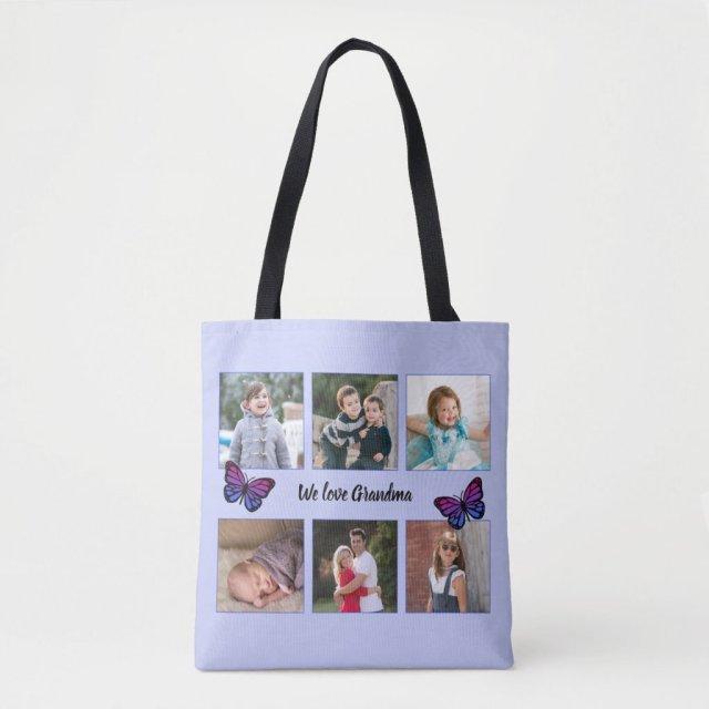 Six photos custom text butterflies blue crossbody bag