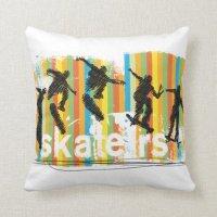 Skateboard Jump Sequence Orange Stripes Pillow | Zazzle