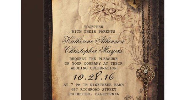 Flowers Heart Vintage Wedding Invitations