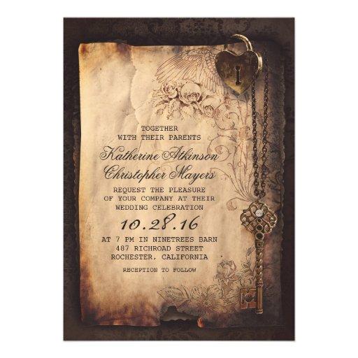 skeleton key vintage wedding invitations  Zazzle