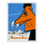 Ski in Colorado, woman in red jacket, vintage Poster
