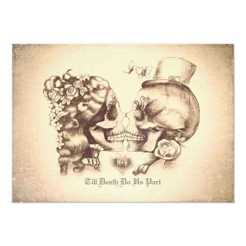 Skull Couple Day of the Dead Couples Shower Invitation