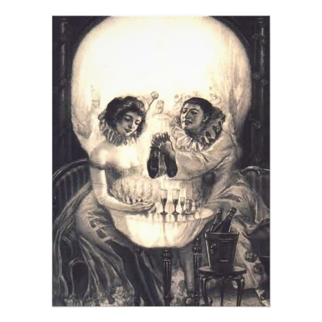 Skull Love Victorian Optical Illusion Vintage Art Photo