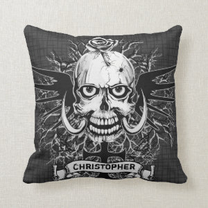 Skull With Rose, Horns, Cross, Wings Personalize Throw Pillow