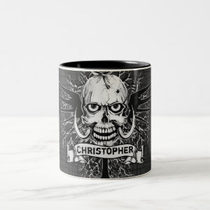 Skull With Rose, Horns, Cross, Wings Personalize Two-Tone Coffee Mug