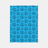 Sky blue dog paw print pattern fleece blanket