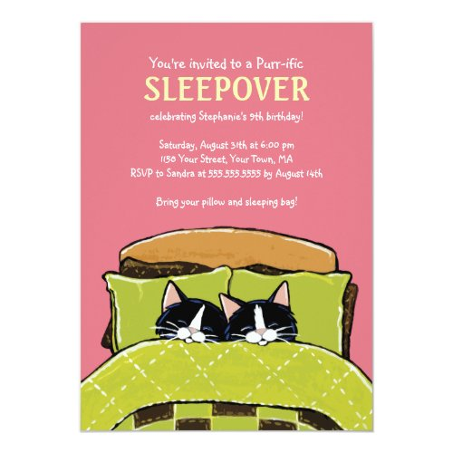 Sleeping Kitten Slumber Party Invitations