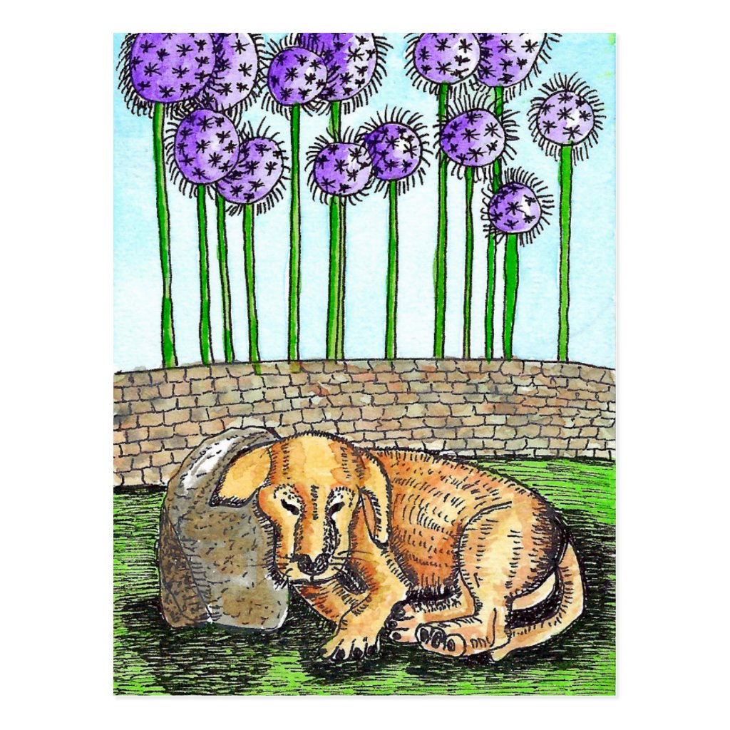 Sleeping Puppy With Purple Flowers Postcard