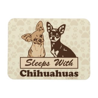Sleeps With Chihuahuas Vinyl Magnets
