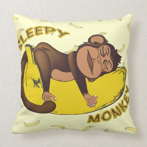 Sleepy Monkey throwpillow