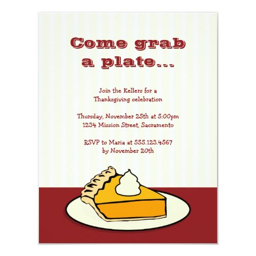 Slice of pumpkin pie on plate Thanksgiving dinner Invitation