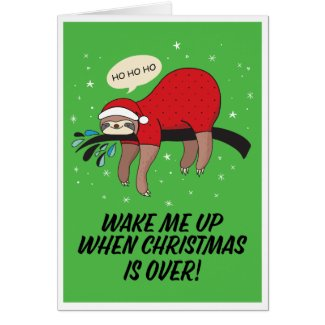 Sloth Santa Anti-Christmas Card