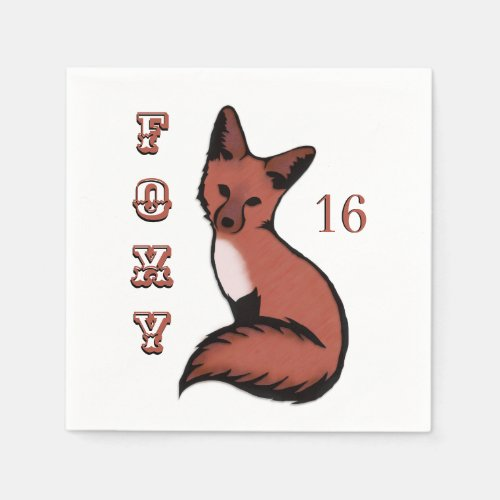 Sly Red Foxy Fox Birthday Napkin