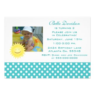 Smiling Sunshine and Polka Dot Party Invitation