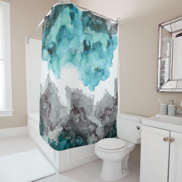 smoky blue teal gray black shower curtain zazzle com