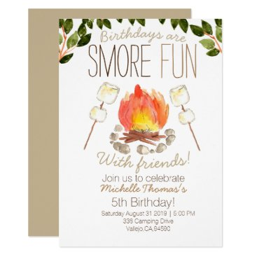 Smore campfire camping birthday invitation