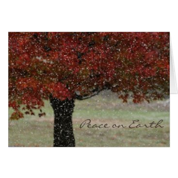 Snow Falling in Fall Holiday Card