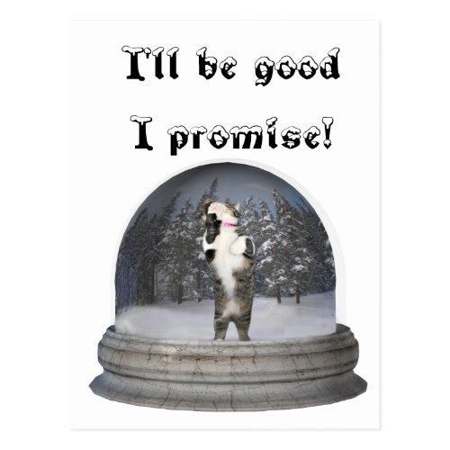 Snow globe cat postcard