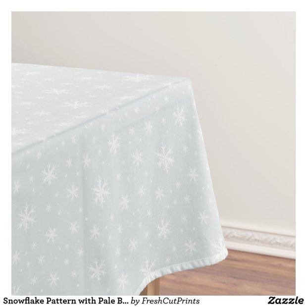 Snowflake Pattern with Pale Blue Background Tablecloth