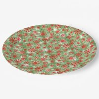 Snowflakes Christmas pattern Paper Plate