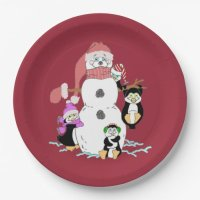 Snowman and Penguin Paper Plates