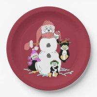 Snowman and Penguin Paper Plates | Zazzle