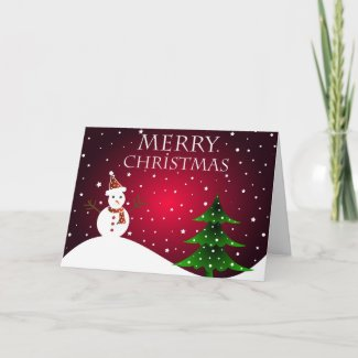 Snowman and tree - Card card