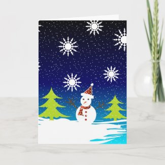 Snowman and trees - Card card