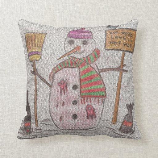 snowman christmas message pillow  Zazzle