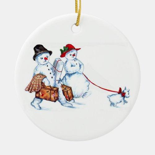 Snowman Couple Christmas Ornament