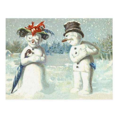 Snowman Couple Winter Snow Field Postcard