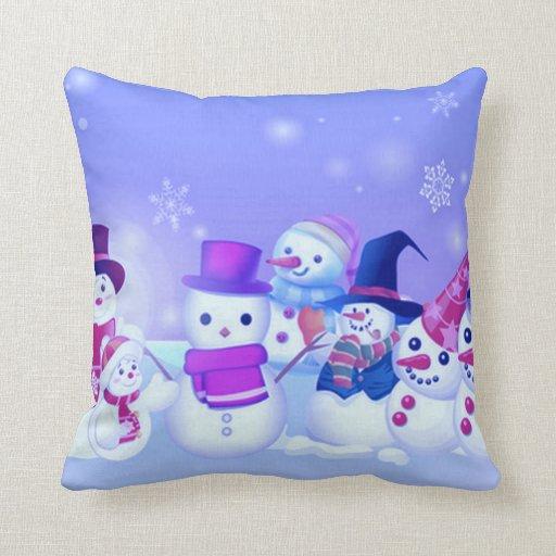 Snowman Friends Throw Pillow  Zazzle