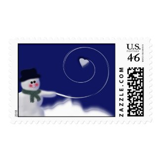 Snowman heart snowball stamp