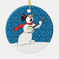 Snowman Playing Banjo Ornament