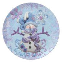 Snowman winter dinner plate | Zazzle