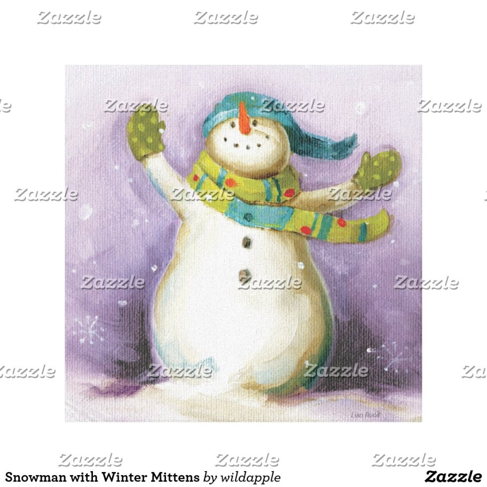 Snowman with Winter Mittens Canvas Print