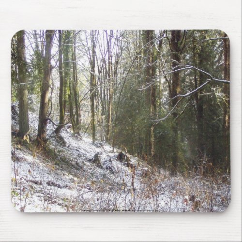 Snowy Sunlit Forest Glade mousepad