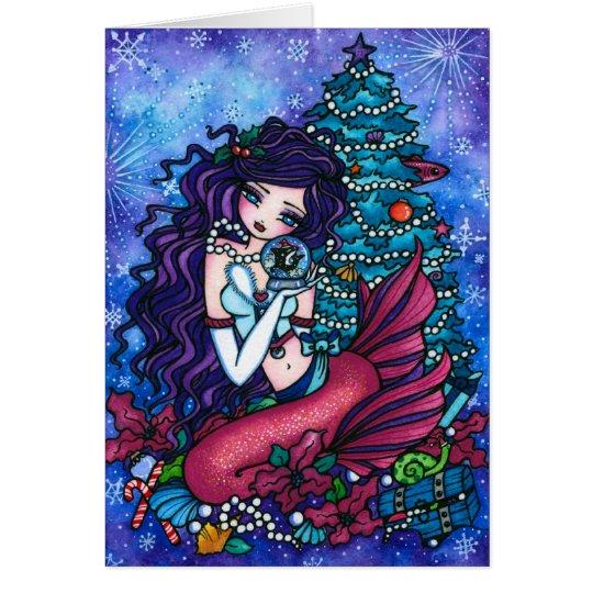 Snowy Treasures Fantasy Mermaid Orca Christmas Card
