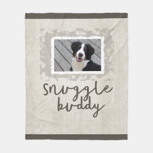 Snuggle Buddy Tan/Brown Fleece Dog Photo Blanket
