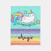 So Meowgical Cute Unicorn kitty glitter sparkles Fleece Blanket