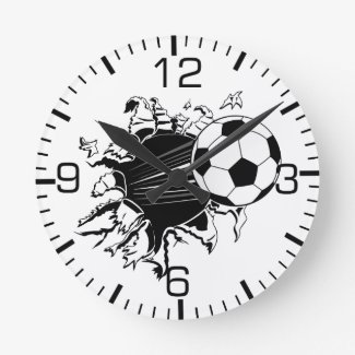 Soccer Ball Busting Out Round Wallclock